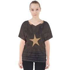 Rustic Elegant Brown Christmas Star Design V Neck Dolman Drape Top by yoursparklingshop