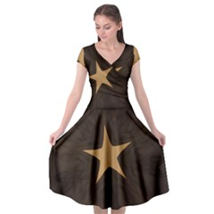 Rustic Elegant Brown Christmas Star Design Cap Sleeve Wrap Front Dress by yoursparklingshop