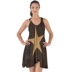 Rustic Elegant Brown Christmas Star Design Show Some Back Chiffon Dress by yoursparklingshop