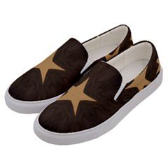 Rustic Elegant Brown Christmas Star Design Men s Canvas Slip Ons by yoursparklingshop