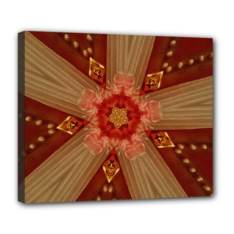 Red Star Ribbon Elegant Kaleidoscopic Design Deluxe Canvas 24  X 20   by yoursparklingshop