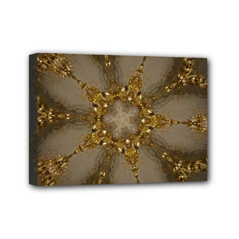 Golden Flower Star Floral Kaleidoscopic Design Mini Canvas 7  X 5  by yoursparklingshop