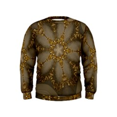 Golden Flower Star Floral Kaleidoscopic Design Kids  Sweatshirt