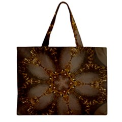 Golden Flower Star Floral Kaleidoscopic Design Zipper Mini Tote Bag by yoursparklingshop