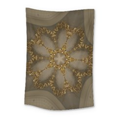 Golden Flower Star Floral Kaleidoscopic Design Small Tapestry