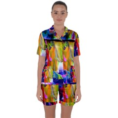Abstract Acryl Art Satin Short Sleeve Pyjamas Set