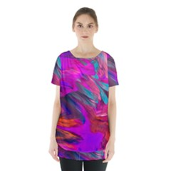 Abstract Acryl Art Skirt Hem Sports Top by tarastyle