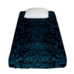 Damask2 Black Marble & Teal Leather (r) Fitted Sheet (single Size) by trendistuff