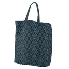 Hexagon1 Black Marble & Teal Leather (r) Giant Grocery Zipper Tote