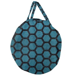 Hexagon2 Black Marble & Teal Leather Giant Round Zipper Tote by trendistuff