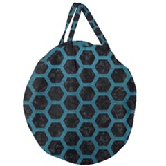 Hexagon2 Black Marble & Teal Leather (r) Giant Round Zipper Tote by trendistuff