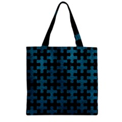 Puzzle1 Black Marble & Teal Leather Zipper Grocery Tote Bag by trendistuff