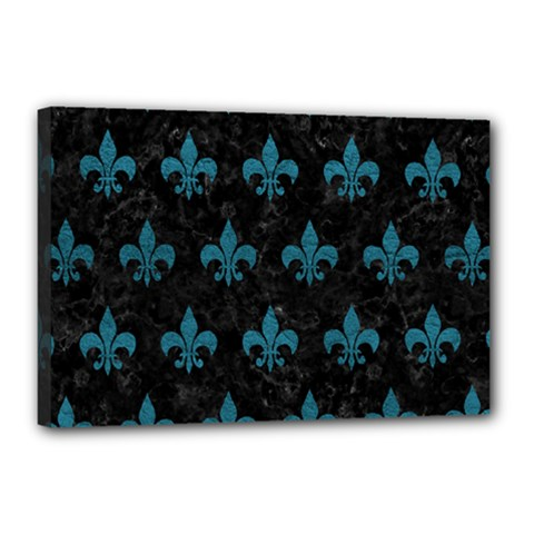 Royal1 Black Marble & Teal Leather Canvas 18  X 12  by trendistuff