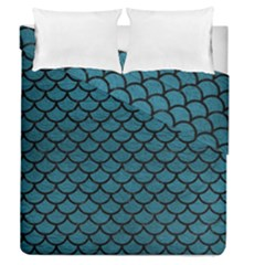 Scales1 Black Marble & Teal Leather Duvet Cover Double Side (queen Size) by trendistuff