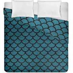 Scales1 Black Marble & Teal Leather Duvet Cover Double Side (king Size) by trendistuff