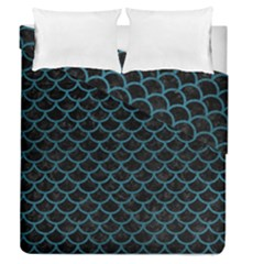 Scales1 Black Marble & Teal Leather (r) Duvet Cover Double Side (queen Size) by trendistuff