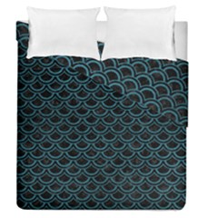 Scales2 Black Marble & Teal Leather (r) Duvet Cover Double Side (queen Size) by trendistuff