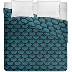 Scales3 Black Marble & Teal Leather Duvet Cover Double Side (king Size) by trendistuff