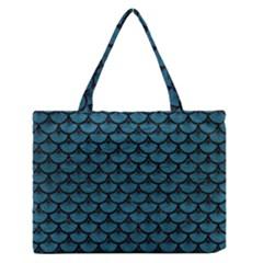 Scales3 Black Marble & Teal Leather Zipper Medium Tote Bag by trendistuff