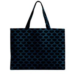 Scales3 Black Marble & Teal Leather (r) Zipper Mini Tote Bag by trendistuff
