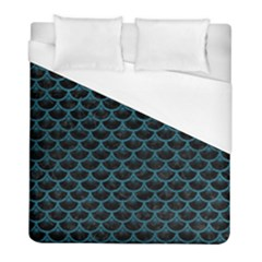 Scales3 Black Marble & Teal Leather (r) Duvet Cover (full/ Double Size) by trendistuff