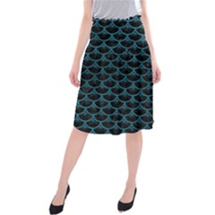 Scales3 Black Marble & Teal Leather (r) Midi Beach Skirt by trendistuff