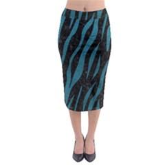 Skin3 Black Marble & Teal Leather (r) Midi Pencil Skirt by trendistuff