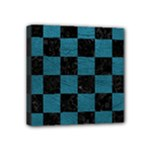 SQUARE1 BLACK MARBLE & TEAL LEATHER Mini Canvas 4  x 4