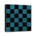 SQUARE1 BLACK MARBLE & TEAL LEATHER Mini Canvas 6  x 6