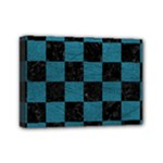 SQUARE1 BLACK MARBLE & TEAL LEATHER Mini Canvas 7  x 5