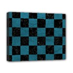 SQUARE1 BLACK MARBLE & TEAL LEATHER Canvas 10  x 8