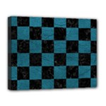 SQUARE1 BLACK MARBLE & TEAL LEATHER Canvas 14  x 11