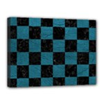 SQUARE1 BLACK MARBLE & TEAL LEATHER Canvas 16  x 12