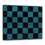 SQUARE1 BLACK MARBLE & TEAL LEATHER Canvas 24  x 20