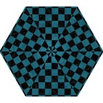 SQUARE1 BLACK MARBLE & TEAL LEATHER Mini Folding Umbrellas