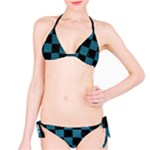 SQUARE1 BLACK MARBLE & TEAL LEATHER Bikini Set