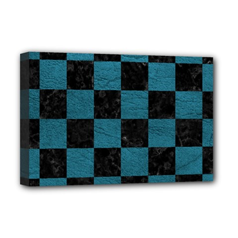 SQUARE1 BLACK MARBLE & TEAL LEATHER Deluxe Canvas 18  x 12