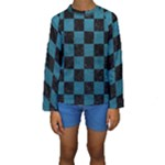 SQUARE1 BLACK MARBLE & TEAL LEATHER Kids  Long Sleeve Swimwear