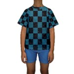 SQUARE1 BLACK MARBLE & TEAL LEATHER Kids  Short Sleeve Swimwear