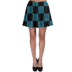 SQUARE1 BLACK MARBLE & TEAL LEATHER Skater Skirt