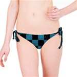 SQUARE1 BLACK MARBLE & TEAL LEATHER Bikini Bottom