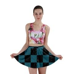 SQUARE1 BLACK MARBLE & TEAL LEATHER Mini Skirt