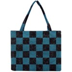 SQUARE1 BLACK MARBLE & TEAL LEATHER Mini Tote Bag