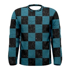 SQUARE1 BLACK MARBLE & TEAL LEATHER Men s Long Sleeve Tee