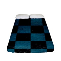 SQUARE1 BLACK MARBLE & TEAL LEATHER Fitted Sheet (Full/ Double Size)