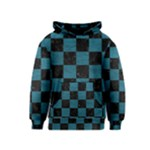 SQUARE1 BLACK MARBLE & TEAL LEATHER Kids  Pullover Hoodie