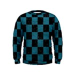 SQUARE1 BLACK MARBLE & TEAL LEATHER Kids  Sweatshirt