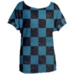 SQUARE1 BLACK MARBLE & TEAL LEATHER Women s Oversized Tee