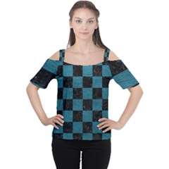 SQUARE1 BLACK MARBLE & TEAL LEATHER Cutout Shoulder Tee