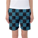 SQUARE1 BLACK MARBLE & TEAL LEATHER Women s Basketball Shorts